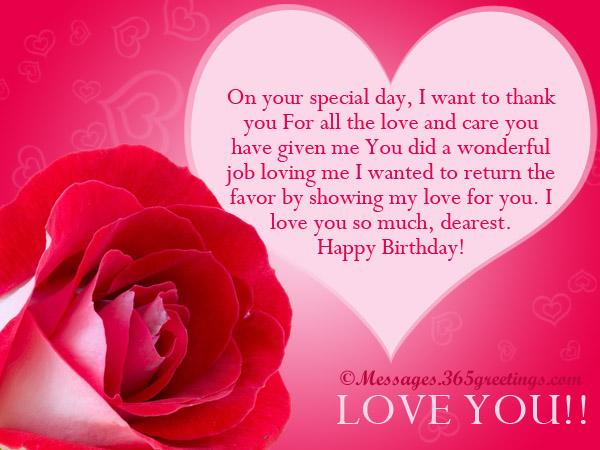 on your special day, i want to think you for all the love and care you have given me you did a wonderfull job loving me i wanted to return the favor by showing my love for you. i love