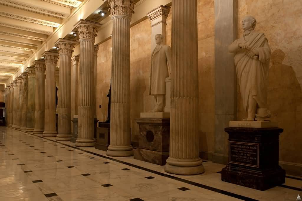 Out Standing Statues And Columns Inside The United States Capitol With Beautiful Floor