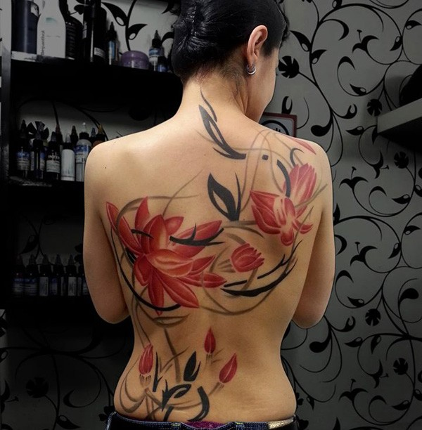 Outstanding Colorful Tattoo On Back With Colorful Ink For Man Woman