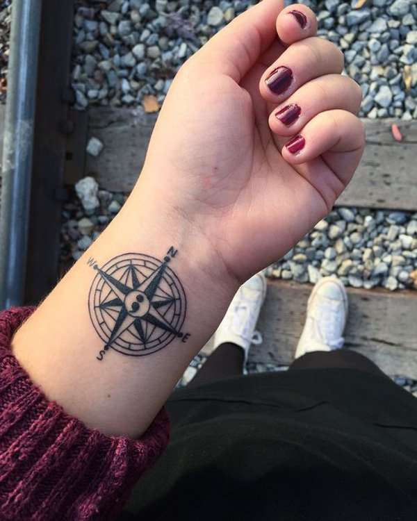 Outstanding Compass Semicolon Tattoo With Black Ink For Man Woman