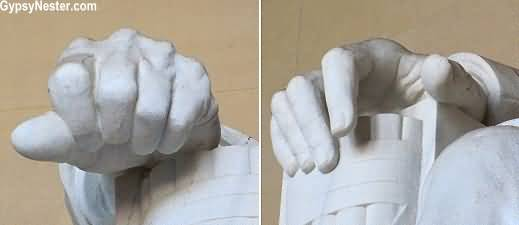 Perfect Art Of Lincolns Hands Inside The Lincoln Memorial
