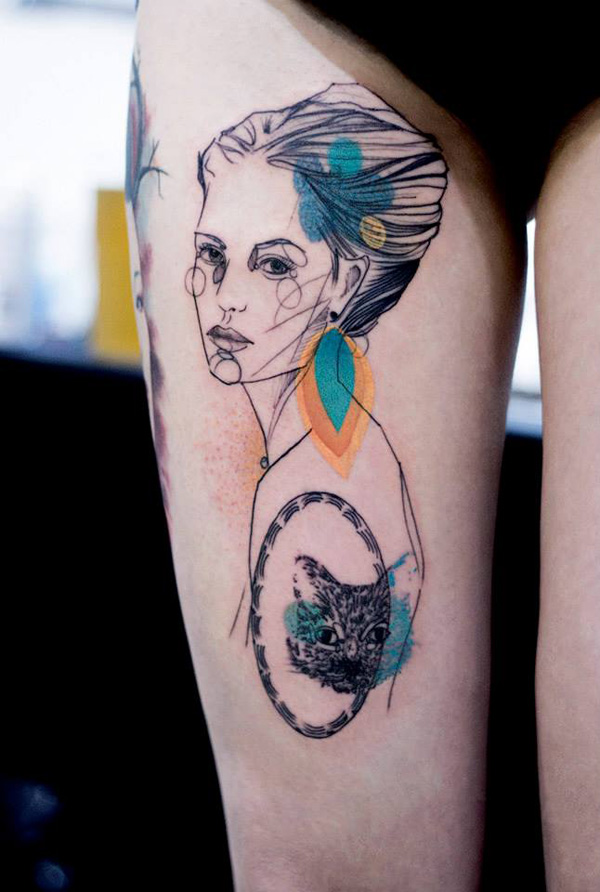phenomenal watercolor portrait thigh tattoo on thigh With colourful ink For Man And Woma