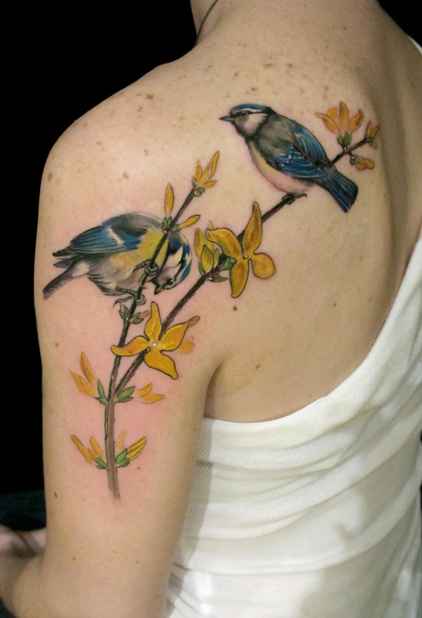 Phenomenal Bird And Flower Tattoo On Back With Colorful Ink For Man Woman
