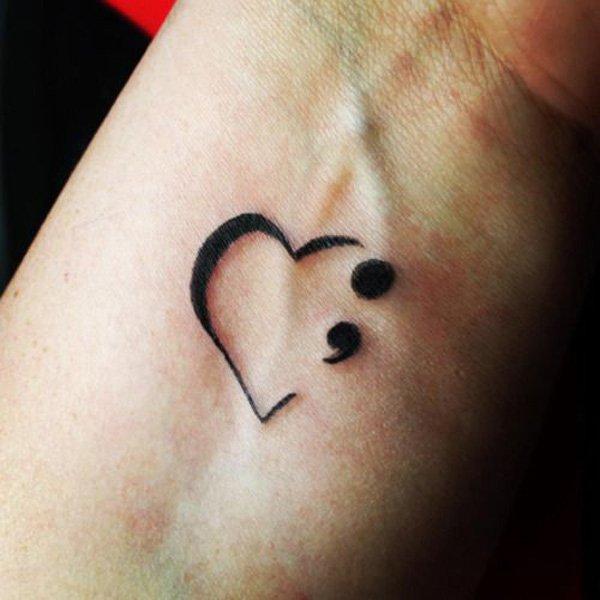 Phenomenal Semicolon Tattoo On Wrist With Black Ink For Man Woman