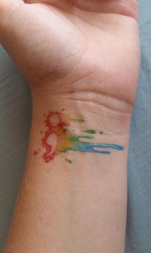 Simple Watercolour Semicolon Tattoo With Black Ink For Man Woman