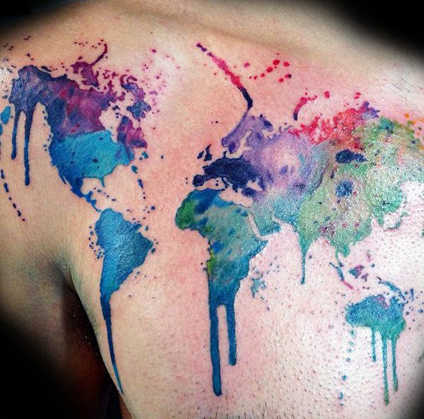 Simple World Map Tatto Watercolor Map Tattoo On Back For Man Woman