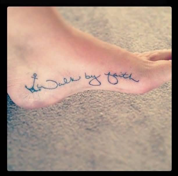 stunning blue color ink anchor tattoo with beautiful wording on girl foot for girls outline tattoo