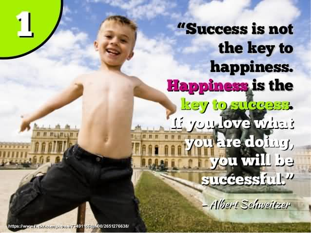 Success Is Not The Key To Happiness Happiness Is The Key To Success If You Love What You Are Doing You Will Be Successful Albert Schwitzer