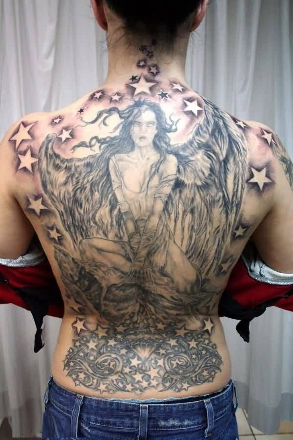 terrific gray and red light color ink angel tattoo on girl back cover for women made by expert