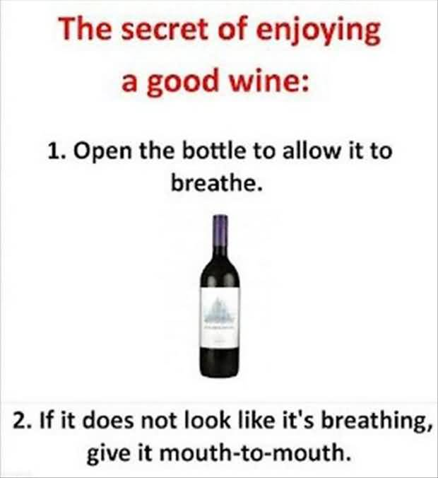The Secret Of Enjoying A Good Wine Open The Bottle To Allow It Ot Breathe If It Does Not Look Like Its Breathing Give It Mouth To Mouth