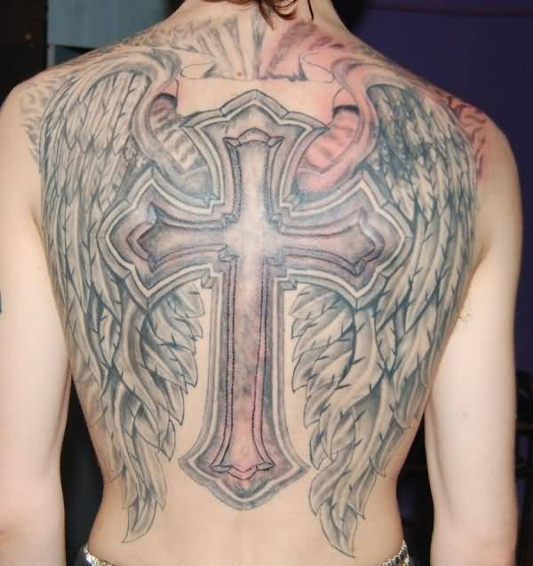 traditional black and red color ink angel tattoo on man back cover for man made by expert person