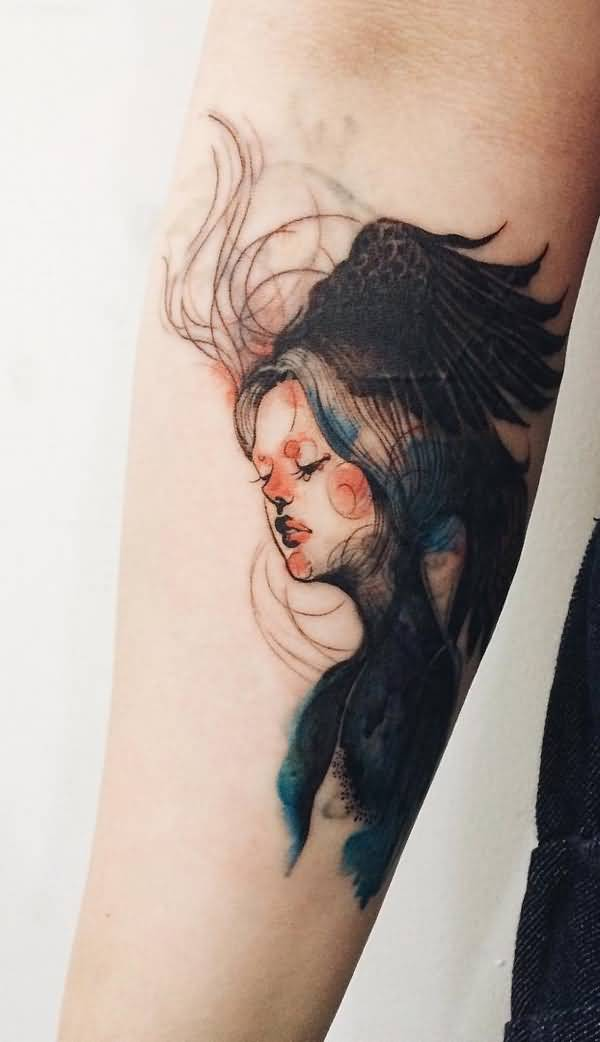 trendy illustration style girl pottrait sleeve tattoo on arm With black ink For Man And Woma