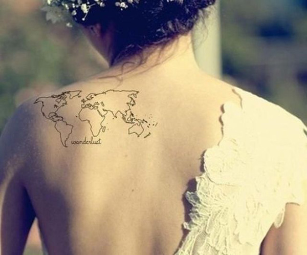 Trendy World Map Tattoo On Shoulder With Black Ink For Man Woman