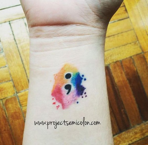 Ultimate Semicolon Tattoo With Colorful Ink For Man Woman