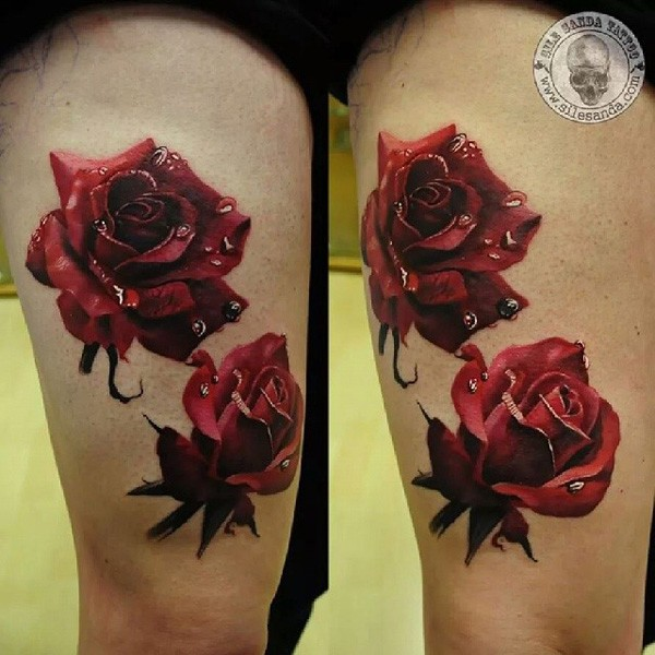 Wonderful 3d Rose Color Tattoo On Thigh With Colorful Ink For Man Woman