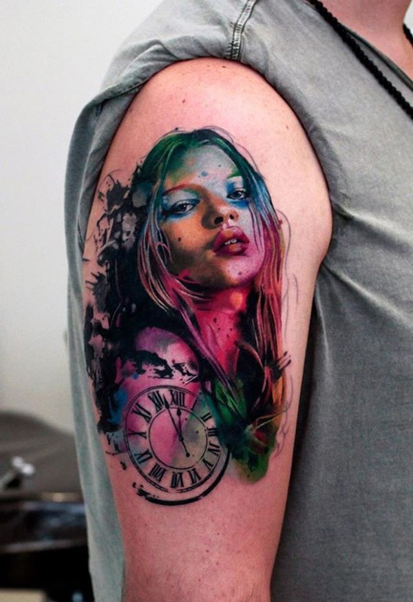 Wonderful Watercolor Portrait On Arm With Colorful Ink For Man Woman