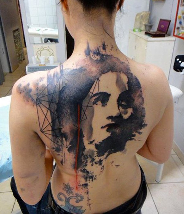 Wonderful Watercolor Tattoos For Women On Back