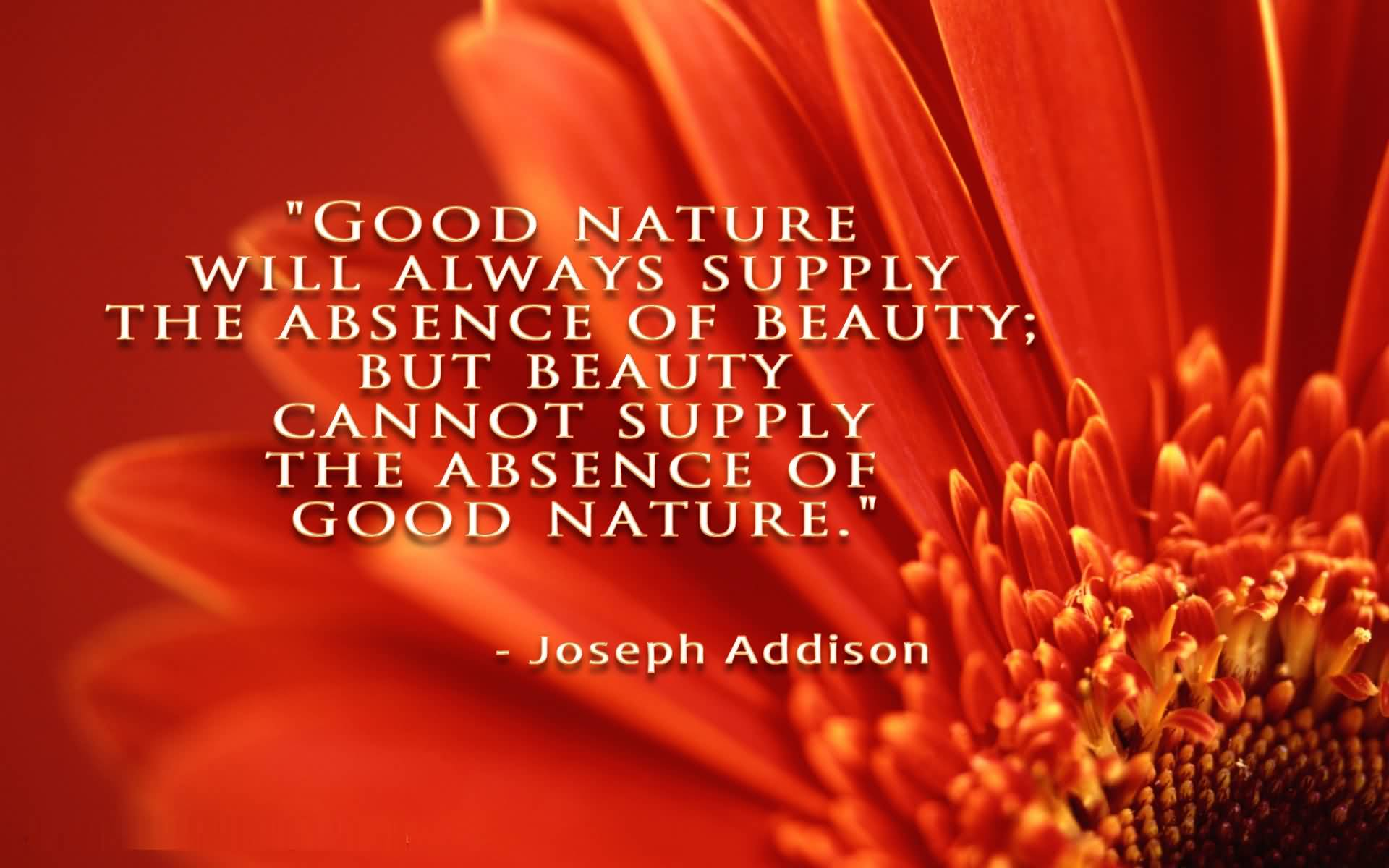 Absence Quotes Good nature will always supply the absence of beauty