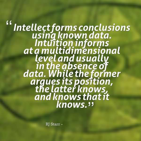 Absence Quotes Intellect Forms Conclusions Using Known Data. Intuition Informs At A Multidimensional Level And Usually