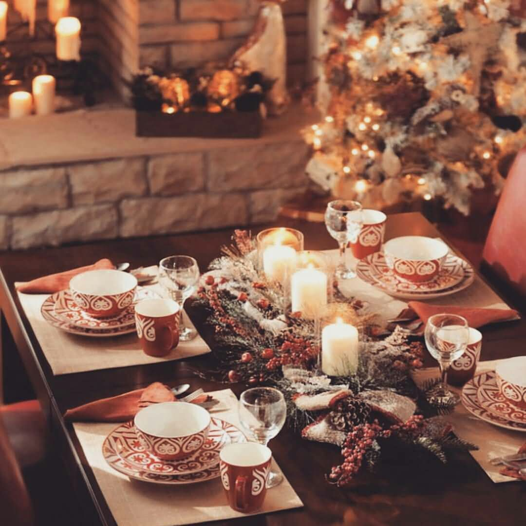 Amazing Dinner Party Table Decorated According To Christmas Eve