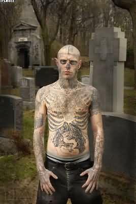 Amazing Tattooed Zombie Boy In Church