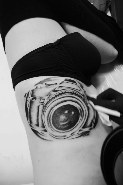 Attractive Black n White Color Camera Tattoo On Arm For Girls