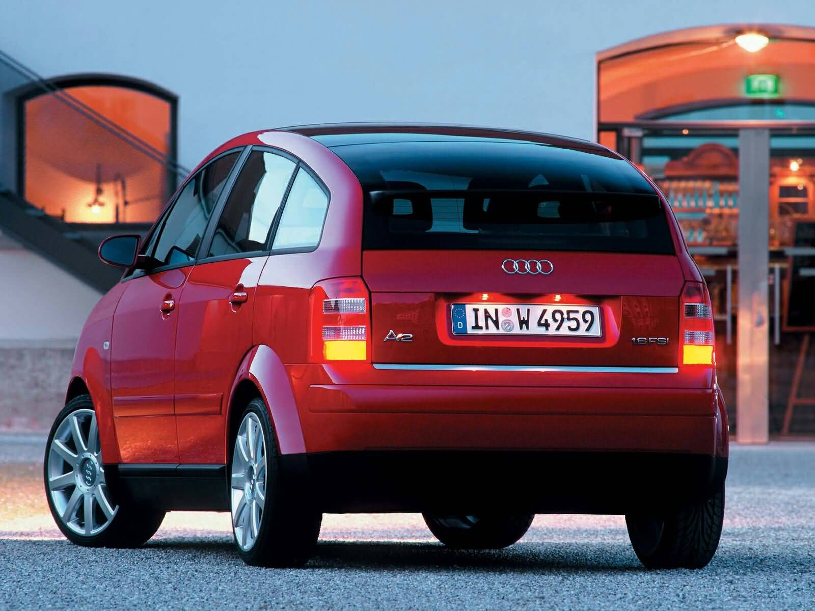 Back side view of lovely Audi A2 Car