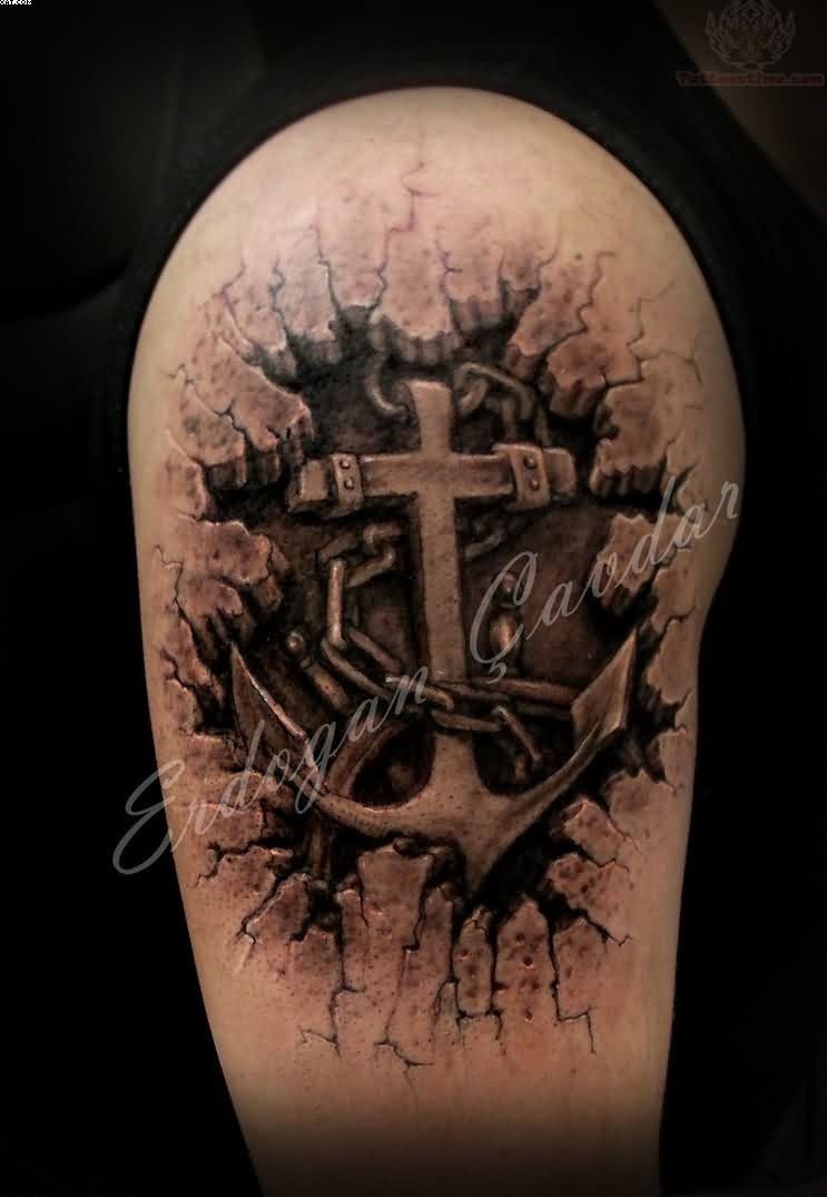 Beautiful Black Color Ink Anchor Tattoo Design On Biceps For Boys