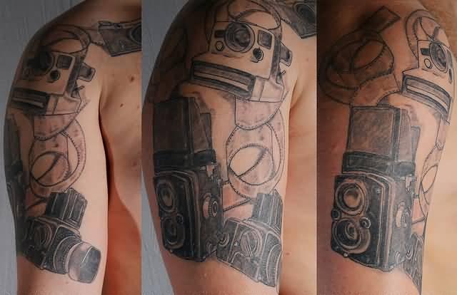 Best Ever Black Color Ink Half Sleeve Camera Tattoo Design For Boys On Shoulder