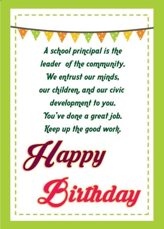 Birthday Poem For Principal Greeting Image
