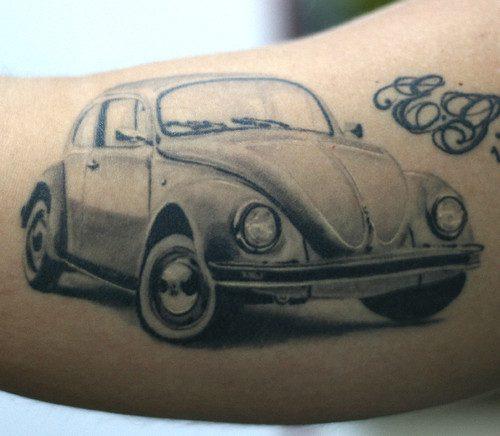 Charming Black Color Ink Volkswagen Car Tattoo Design For Girls