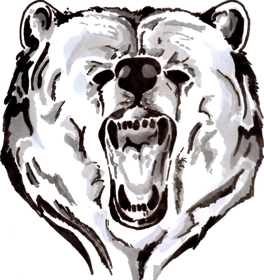 cool black color ink angry bear face tattoo design for girls