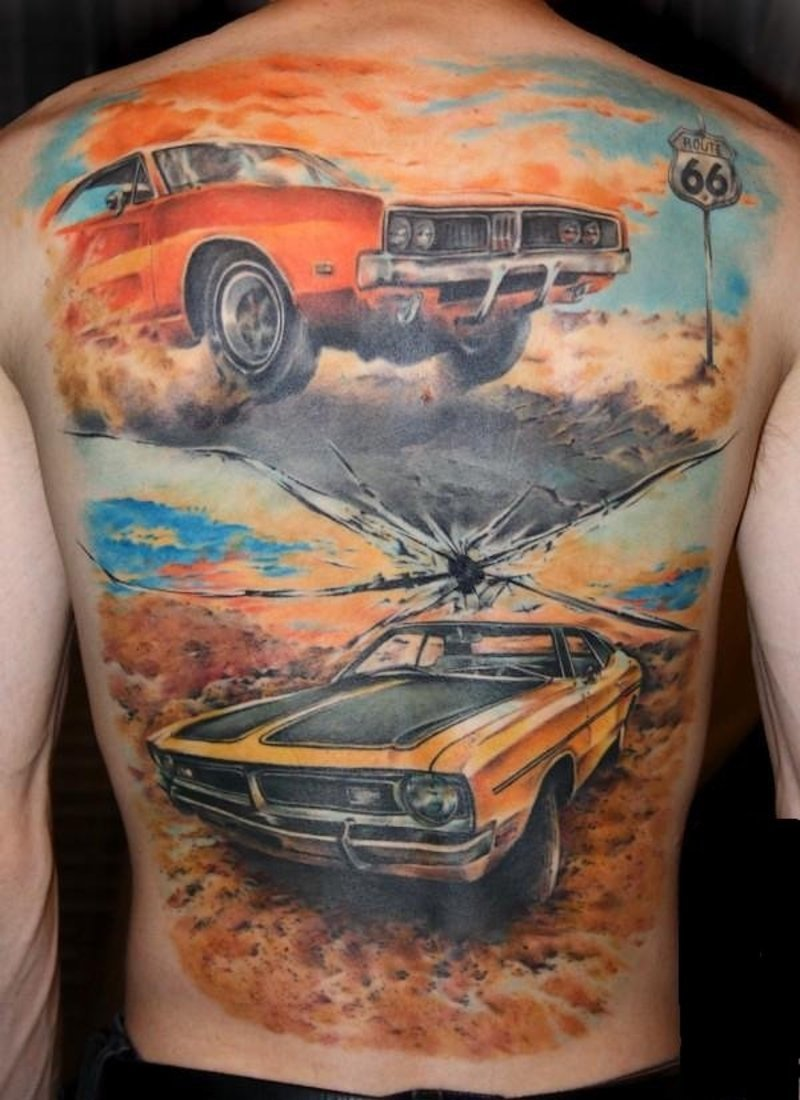 Cool Blue Yellow Black And Red Color Ink Full Cars Tattoo Design On Back For Boys