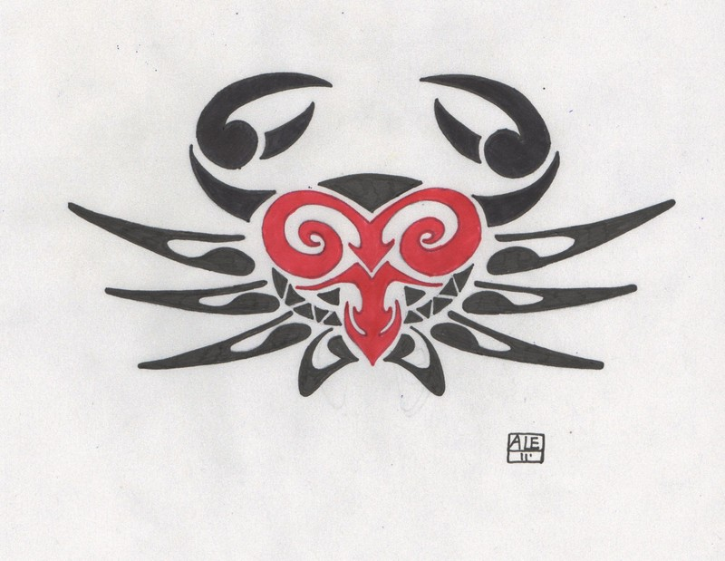 Crazy Red And Black Color Ink Aries Crab Tattoo Design For Boys