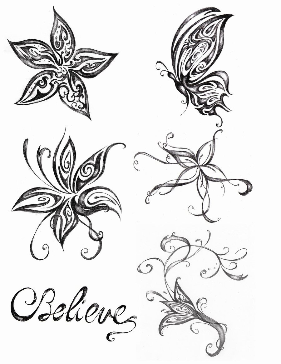 creative black and white color flowers u0026 butterfly tattoo designs