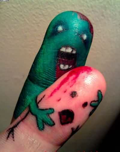 Cute Zombie Tattoos On Thumbs Fingers