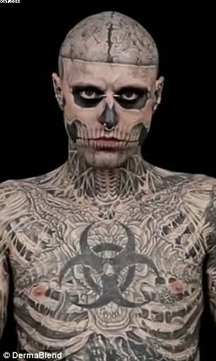 Dashing Zombie Tattoos On Full Body For Male