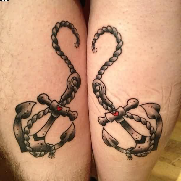 Extremely Black and Red Heart Color Ink Anchor With Rope Tattoo On Boy Leg