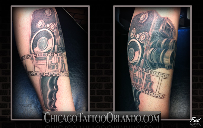 Famous Black And Red Color Ink Vintage Video Camera Tattoo Image For Arm For Boys