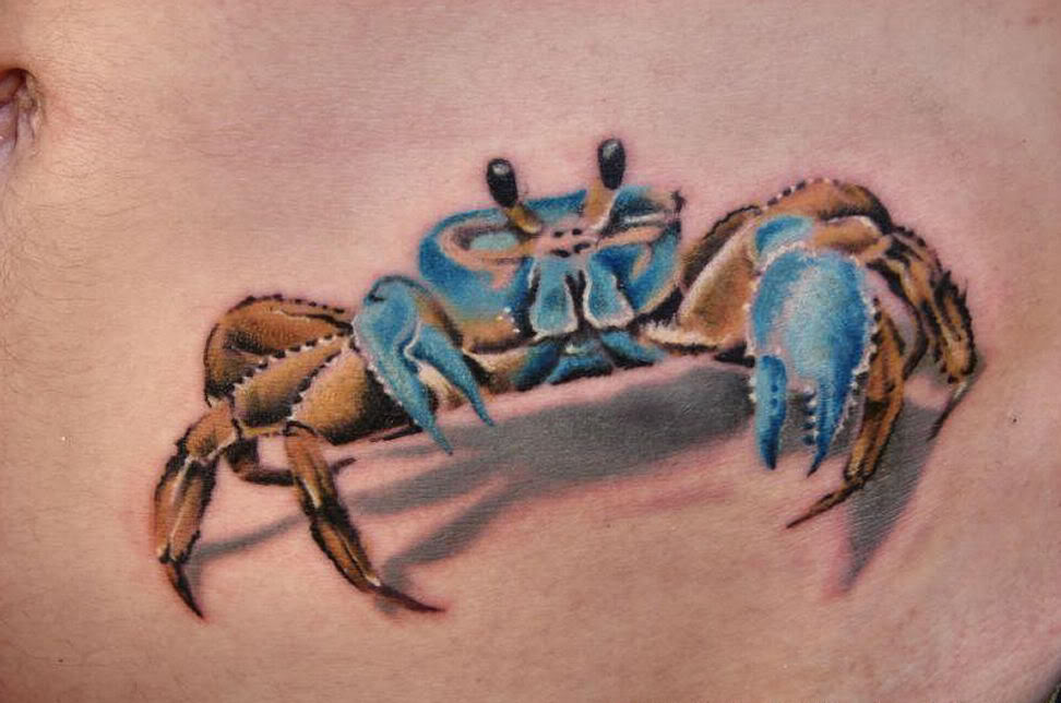 Famous Blue And Brown Color Ink 3D Crab Tattoo On Belly For Boys
