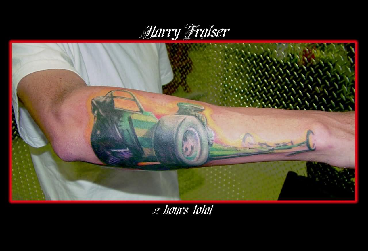 Fantastic Green Black And Red Color Ink Drag Car Tattoo On Arm For Boys