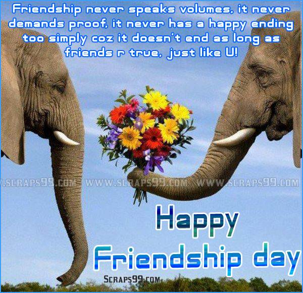 Friendship Never Speaks Volumes Happy Friendship Day Image