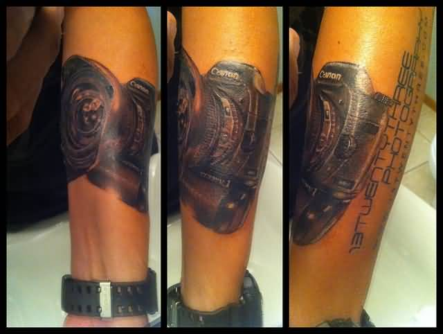 Great Black And Red Color Ink Camera Tattoo Image On Arm For Girls