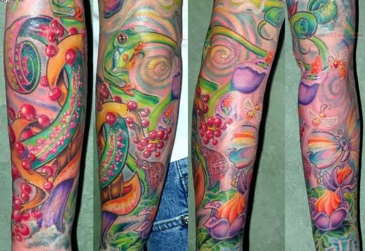 Great Green Red And Blue Color Ink Aqua Tattoo Design On Leg For Girls