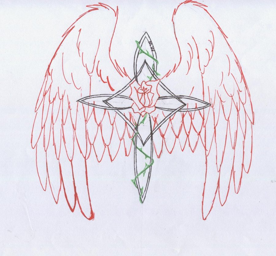 Drawing Red Lines With Green Ink : Mighty cross tattoo designs ideas photos images