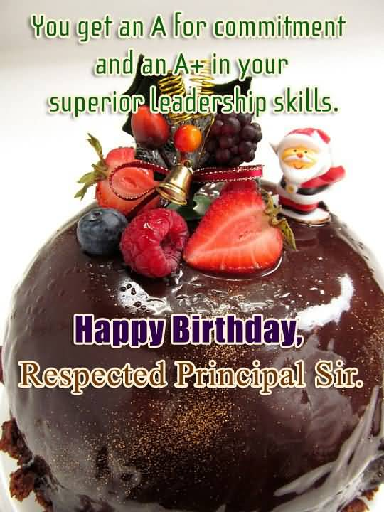 Happy Birthday Respected Principal Sir Beautiful & Delicious Cake Greeting Image