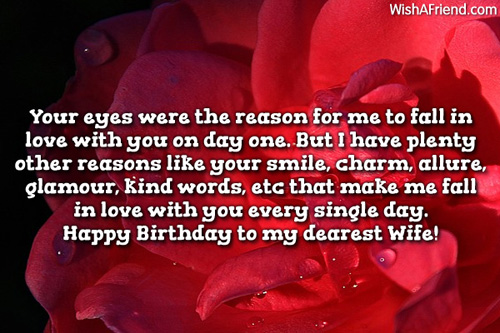 Happy Birthday To My Dearest Wife Greeting Quotes Image