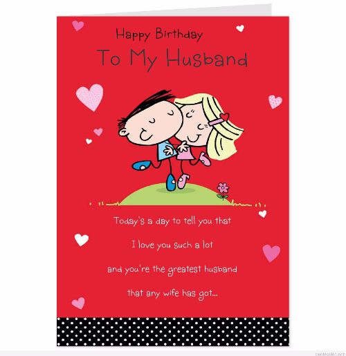 Happy Birthday To My Husband Wishes Card Image