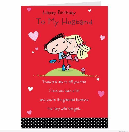 Happy Birthday To My Husband Wishes Card Image