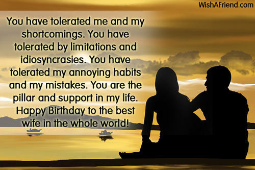 Happy Birthday To The Best Wife In The Whole World Greeting Quotes Image
